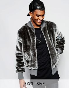 The New County | The New County Teddy Bear Bomber Jacket In Faux Fur at ASOS