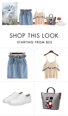 """""""Shein flower"""" by blueeyed-dreamer ❤ liked on Polyvore featuring Summer, contest, denim, sneakers and shein"""