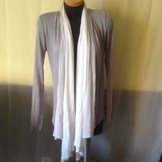 F21 Open Front Cardigan It's a cream color with two shades of grey. Super cute. Forever 21 Sweaters Cardigans