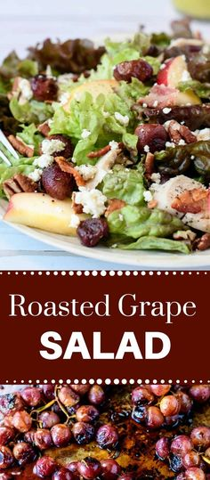 This salad with roasted grapes, pecans and blue cheese crumbles takes left over chicken to a new level. Super easy to make and hearty enough for a meal. Healthy Salad Recipes, Lunch Recipes, Mexican Food Recipes, Ethnic Recipes, Grape Recipes, Coleslaw Recipes, Healthy Food, Fun Easy Recipes, Popular Recipes