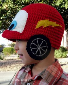Crochet Cars' Lightning McQueen inspired Hat