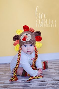 Turkey hat - baby and newborn turkey crochet hat - boy or girl - sale - any Thanksgiving Crochet, Crochet Fall, Crochet For Kids, Newborn Crochet, Crochet Baby Hats, Fall Photography Props, Turkey Hat, Crochet Abbreviations, Kids Hats