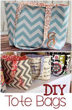 DIY Monogram Tote Bags.
