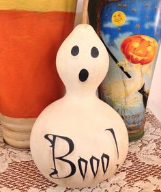Gourd Ghost | They might have bumpy textures and odd shapes, but you can craft with them from Halloween until Thanksgiving.