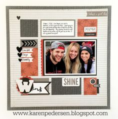Wink Single Page Scrapbooking layout using Close To My Heart November Stamp of the Month New Year Cheer.
