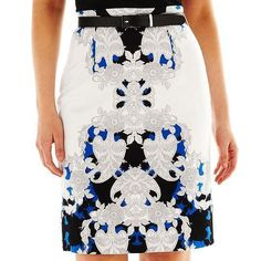 @jcpenney Plus Size Blue, Black, and White Pattern Print High Waist Sateen Pencil Skirt With Belt. http://zodiacfashion.blogspot.com/