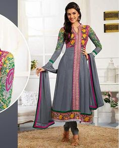 Grey embroidered anarkali suit   1. Grey embroidered anarkali suit2. Multicolor thread embroidered yoke and sleeves3. Golden and pink border at front4. Comes with matching bottom and dupatta5.Can be stitched upto size 42  inches