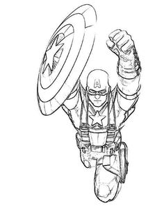 flying captain america coloring page