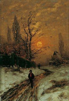 Ludwig Munthe, Mondnacht im Winterwald (moonlit night in the winter forest) Winter Landscape, Landscape Art, Landscape Paintings, Winter Art, Winter Night, Renaissance Art, Beautiful Paintings, Aesthetic Art, Oeuvre D'art
