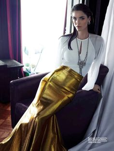 """Hilary Rhoda in """"American Beauty"""" Photographed by Hunter & Gatti & Styled by Anna Katsanis, Alvaro Montano & Alicia Leon for Marie Claire Me..."""