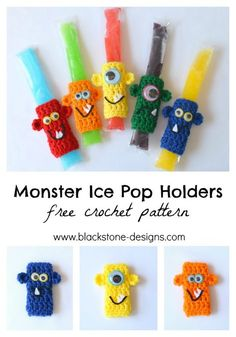 Monster Ice Pop Holders free crochet pattern from Blackstone Designs Keep the little ones cool during the summer, without freezing tiny fingers! Great for pool parties or summer birthday party favors. These are a huge hit with the kids! #crochet #monsters #summer #popsicles #birthdayparty