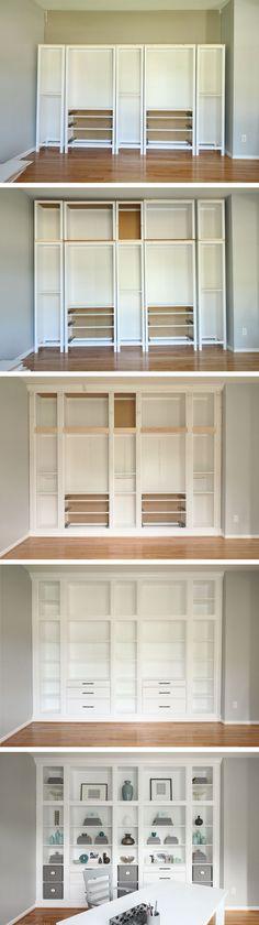 DIY Built-in Bookcases made with Ikea Hemnes Furniture, Custom Built-in Storage, Ikea Hack | Studio 36 Interiors