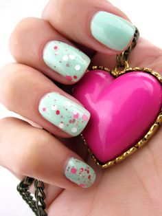 Mint mani with pink confetti topcoat. #mint #manicure #nails