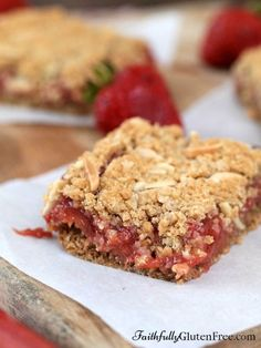 Gluten Free Strawberry Rhubarb Squares.  The crumble on top sounds good!