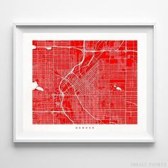 Map posters by Inkist Prints! Modern Denver Colorado street map print in 70 different colors, perfect for anyone who loves to travel or is away from home. Map Wall Decor, Map Wall Art, Poster Wall, Wall Art Prints, Denver Map, Denver Colorado, Home Wall Colour, Urban Home Decor, Teen Decor