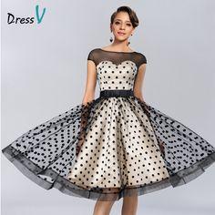 Dressv Knee-length Cocktail Dresses 2017 Polk Dot Pattern Dresses to Party Homecoming Dresses Sheer Boat Neck Graduation Dresses