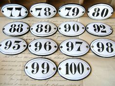 Vintage French enamel number - Small antique enameled sign plate - Antique oval 88, 90, 92, 96, 97