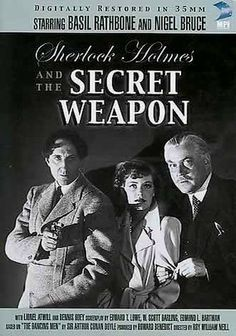 """""""Sherlock Holmes & The Secret Weapon"""" (dir. Roy William Neill, 1942) --- Sherlock Holmes (Basil Rathbone) and Doctor Watson (Nigel Bruce) once again set out to foil the nefarious Moriarty (Lionel Atwill)...and save humanity in the process. This time, they must prevent a Swiss-made bomb from falling into the hands of the Gestapo. Unfortunately, Moriarty has captured the bomb's inventor and intends to slowly bleed him to death unless he reveals the secret behind his handiwork."""