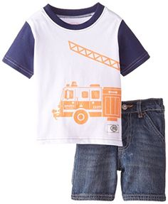 Lee Baby Boys Fire Engine Tee Short Set Blue Wash 12 Months >>> Find out more about the great product at the image link.