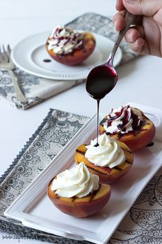 Grilled Peaches with Mascarpone Cream and Port Reduction - Use up those juicy summer peaches in this simple but fancy looking recipe! - cupofzest.com #zestyrecipe