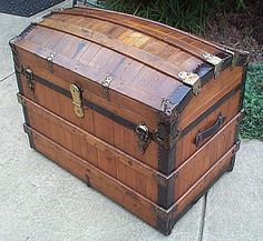 RARE Large Oak Slat Dome Restored Top Antique Trunk by Excelsior w Working Lock AND Key, Original Liftout Tray, Hamburg Shipping Labels on Etsy, $2,895.00