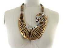 1980s tiger necklace / chunky statement necklace / by AsburyHill