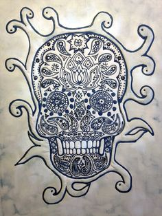 inked skull - 35cm x 46cm mounted on a stretcher