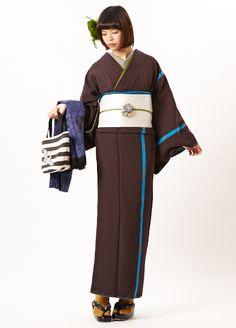 Furifu designed kimono and obi. Yukata Kimono, Kimono Japan, Kimono Dress, Japanese Kimono, Kimono Fashion, Lolita Fashion, Fashion Outfits, Korean Streetwear, Japanese Costume