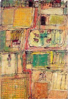 1944 Jean Dubuffet (French best known for founding the art movement 'Art Brut' Outsider Art, Pablo Picasso, Claude Monet, Musée National D'art Moderne, Georges Pompidou, Pompidou Paris, Modern Art, Contemporary Art, Art Informel