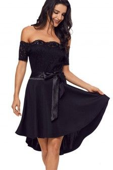 Women Black Off Shoulder Hollow Lace Tie Waist Sexy High Low Party Dress - Winter Dresses, Day Dresses, Casual Dresses, Dresses With Sleeves, Fashion Dresses, Club Party Dresses, Party Dresses Online, Chiffon Dress, Lace Dress