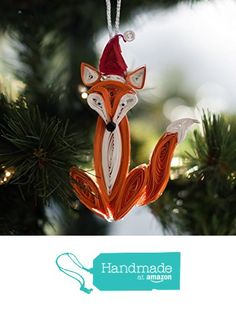 "Woodland Christmas Ornament featuring a Paper Quilled Fox Decor - 4"" Tall from Of Things Pretty Paper Co. http://www.amazon.com/dp/B016BJGZ8E/ref=hnd_sw_r_pi_dp_bwziwb111VWRB #handmadeatamazon"