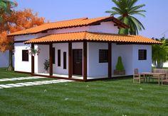 Casa com Varanda e 3 Quartos - Cód. Spanish Style Homes, Spanish House, Village Houses, Futuristic Architecture, My Dream Home, Future House, Bungalow, House Plans, New Homes