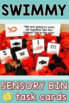 Swimmy by Leo Lionni is a perfect read aloud for Back to School and all year long. These literacy and math task cards fit perfectly in this themed sensory bin for hands-on learning! From Positively Learning Blog #swimmy #sensorybin