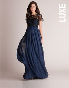 Love this dress just not the price Navy Silk and Lace Maternity Evening Gown | Seraphine