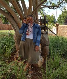 Khaki Skirt In Spring Must have denim jacket Khaki Skirt, What I Wore, African Fashion, Personal Style, Hipster, Denim, Lifestyle, Spring, Jackets