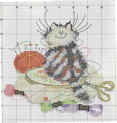 Cross-stitch cat on your sewing ... no color chart available, just use the pattern chart as your color guide.. or choose your own colors...