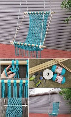 How To Make A Pretty Macrame Hammock- DIY Source by clarethafessler Macrame Chairs, Macrame Wall Hanging Diy, Macrame Art, Macrame Projects, Macrame Knots, Diy Projects, Diy Hammock, Crochet Hammock, Hammock Swing