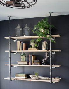 living room wall shelves - Industrial Retro Wall Mount Iron Pipe Shelf Hung Bracket Diy Storage Shelving Bookshelf pcs) Living Room Wallpaper Design For You. You can find out more details at the link of the image. Pipe Bookshelf, Iron Pipe Shelves, Black Bookshelf, Bookshelf Speakers, Bookshelf Brackets, Pipe Shelf Brackets, Pipe Desk, Pipe Table, Pipe Lamp