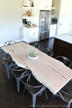 LOVE this table! Maple Live Edge Table with Milk Stain and Industrial Chairs