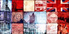 XENOS Poster: London Patchwork online te koop. Bestel je poster, je 3d filmposter of soortgelijk product Deco Panel 50x100