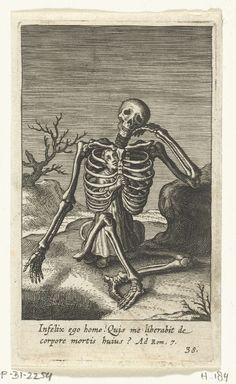 Kind in skelet van de Dood gekropen, Boëtius Adamsz. Bolswert, 1590 - 1624