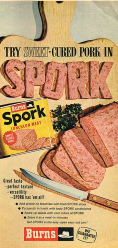 Spork...tried so hard to be loved like his brother Spam. Rejected by the masses, he lived his life in the shadows. Waiting. For what, he knew not. He just waited. And then he died. The end.