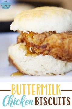This Buttermilk Chicken Biscuits recipe is made with chicken tenders coated in a delicious, golden crispy batter and tender homemade golden biscuits drizzled in honey! PERFECT for family dinners or a good old fashion southern breakfast! Buttermilk Chicken, Chicken And Biscuits, Buttermilk Recipes, Baked Chicken, Southern Breakfast, Breakfast Cafe, Breakfast Ideas, Mexican Food Recipes, Dessert Recipes