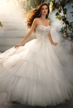 DISNEY FAIRY TALE WEDDINGS BY ALFRED ANGELO   Style No: 209 CINDERELLA    Net over satin dress with metallic embroidery, rhinestones, crystal beading and sequins. Semi-cathedral train.