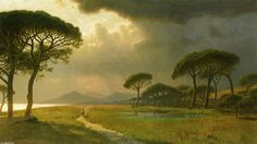 Morning Light, campagne romaine, huile sur toile de William Stanley Haseltine (1835-1900, United States)