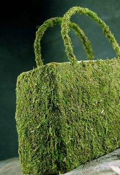 Natural Preserved Moss Purse Large 12""