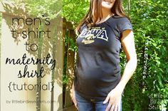 Little Birdie Secrets: how to alter a mens t-shirt into a womens (or maternity) size {tutorial}