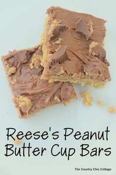 Reese's Peanut Butter Cup Bars Recipe -- a creamy peanut butter bar with chocolate frosting and peanut butter cup bits!  Come get this amazing recipe today!