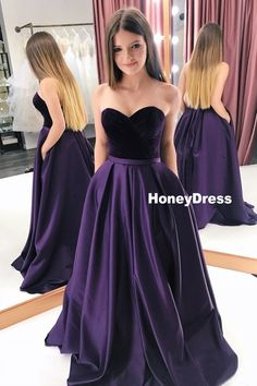 Buy A Line Purple Satin Sweetheart Long Prom Dresses With Pockets, Strapless Evening Dresses online.Shop short long ombre prom, homecoming, bridesmaid evening dresses at Couture Candy Cocktail party dresses, formal ball gowns in ombre colors. Purple Satin, Purple Velvet Dress, Satin Color, Prom Dresses With Pockets, Dress Pockets, Sweetheart Prom Dress, Elegantes Outfit, Dresses For Teens, Dress Prom