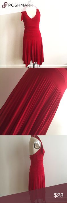 Sexy Halter Stretchy Red Dress! Hello date night! Good condition. Measures 34 bust, 29 waist, a line cut roomy for hips. Tag reads medium, about 43 inches from top to bottom. Light piling in upper back barely visible. Made in America, poly spandex blend! Very flattering cut! Dresses
